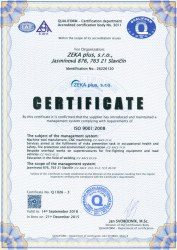 The certificate of management system ČSN EN ISO 9001:2009